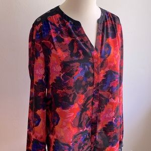 NYDJ Red Floral Button Up long sleeve Blouse red